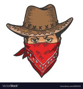 Cowboy head in bandit gangster mask bandana color sketch line art engraving vector illustration. Scratch board style imitation. Hand drawn image.